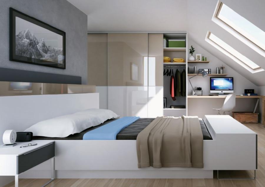 Мансардна спальня з шафою на горищі