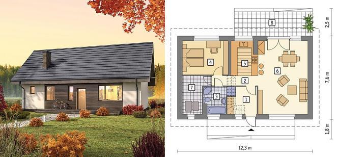 Файний - проєкт будинку барнхаус площею 64,8 м 2
