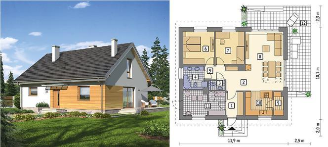 Лавандове поле - проєкт будинку барнхаус площею 80,4 м 2